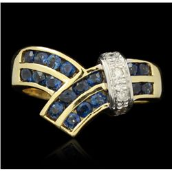 14KT Yellow Gold 0.75ctw Blue Sapphire and Diamond Ring GB1918
