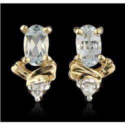14KT Yellow Gold 0.50ct Aquamarine and Diamond Earrings GB3264