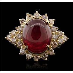 14KT Yellow Gold 11.60ct Ruby and Diamond Ring A7059