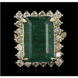 14KT Yellow Gold 8.01ct Emerald and Diamond Ring A7075
