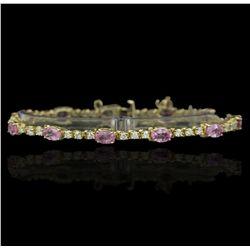 14KT Yellow Gold 8.00ctw Pink Sapphire and Diamond Bracelet GB1829
