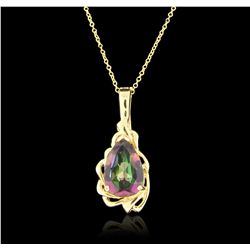 14KT Yellow Gold 9.00ctw Mystic Topaz Pendant With Chain GB3281