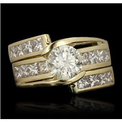 18KT Yellow Gold 1.72ct I-1/Light Yellow Diamond Ring GB3506