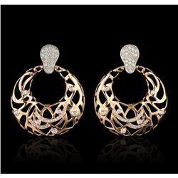 14KT Rose Gold 0.88ctw Diamond Earrings A6881