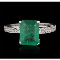14KT White Gold 2.53ct Emerald and Diamond Ring GB4117