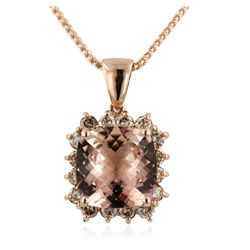 14KT Rose Gold 7.28ct Morganite and Diamond Pendant With Chain A6189