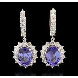 14KT White Gold 9.19ctw Tanzanite and Diamond Earrings A7018
