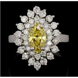 14KT White Gold 1.12ct Canary Yellow Diamond Ring DJ72