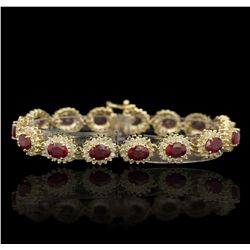 14KT Yellow Gold 17.92ct Ruby and Diamond Bracelet RM1800