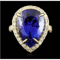 14KT Yellow Gold 17.79ct Tanzanite and Diamond Ring A4992