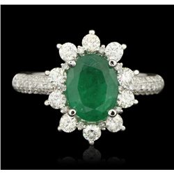 14KT White Gold 1.62ct Emerald and Diamond Ring PRM74