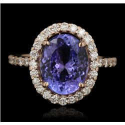 14KT Rose Gold 3.90ct Tanzanite and Diamond Ring A6648