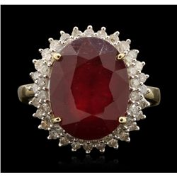 14KT Yellow Gold 9.71ct Ruby and Diamond Ring RM1841