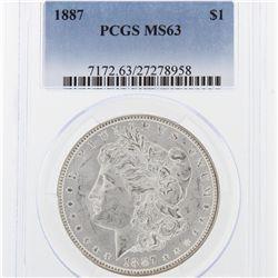 1887 Morgan Silver Dollar PCGS Graded MS63 SCE1000