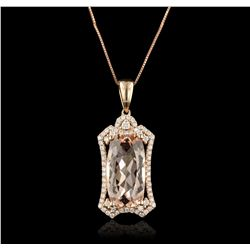14KT Rose Gold 5.76ct Morganite and Diamond Pendant With Chain CRJ137