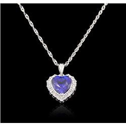 10KT White Gold 3.16ct Tanzanite and Diamond Pendant With Chain GB4812