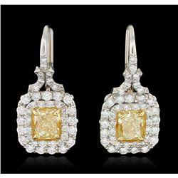 Platinum 2.16ctw EGL Cert Fancy Yellow Diamond Earrings HK6