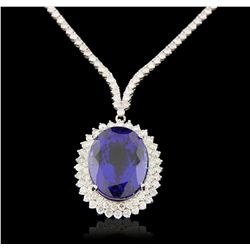 18KT White Gold 40.63ct GIA Cert Tanzanite and Diamond Necklace A6416