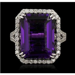 14KT White Gold 13.10ct Amethyst and Diamond Ring A6723