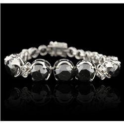 14KT White Gold 30.91ctw Black and White Diamond Bracelet RM1336