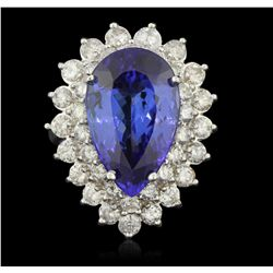 14KT White Gold 10.26ct GIA Cert Tanzanite and Diamond Ring A6406