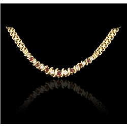 10KT Yellow Gold 0.48ctw Diamond and 0.96ctw Ruby Necklace JRM300