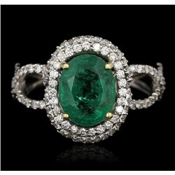 18KT Two-Tone Gold 2.43ct Emerald and Diamond Ring GB2298