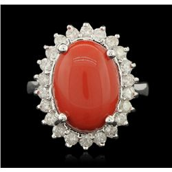 14KT White Gold 6.95ct Coral and Diamond Ring A6244