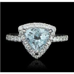 14KT White Gold 1.39ct Aquamarine & Diamond Ring A5633