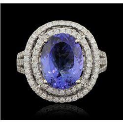 14KT White Gold 4.60ct Tanzanite and Diamond Ring A6031