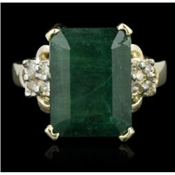 14KT Yellow Gold 9.18ct Emerald and Diamond Ring FRD422