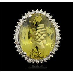 14KT White Gold 39.10ct Lemon Quartz and Diamond Ring LAJB24
