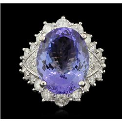 14KT White Gold 12.47ct Tanzanite and Diamond Ring A6241