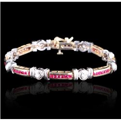 14KT Two-Tone Gold 2.45ct Ruby and Diamond Bracelet GB2218