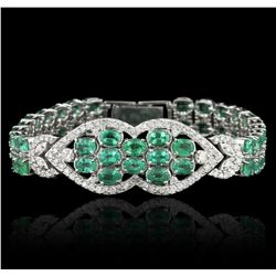 14KT White Gold 22.00ctw Emerald and Diamond Bracelet A5441