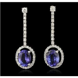 14KT White Gold 3.77ctw Tanzanite and Diamond Earrings A6664