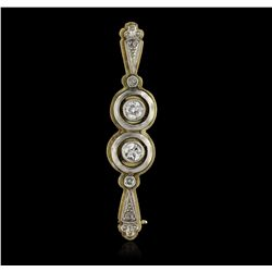 14KT Yellow Gold & 18KT White Gold 0.37ctw Diamond Brooch JRM66