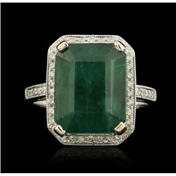 14KT White Gold 9.90ct Emerald and Diamond Ring A5337