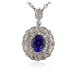 14KT White Gold 8.24ct Tanzanite and Diamond Pendant with Chain RM1362