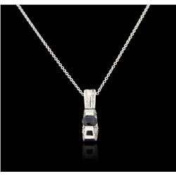 14KT White Gold 0.57ct Sapphire and Diamond Pendant With Chain GB3643