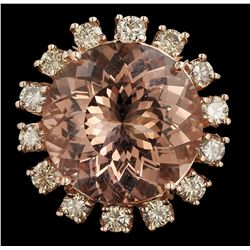 14KT Rose Gold 23.37ct GIA Cert Morganite and Diamond Ring A6400