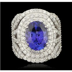 18KT White Gold 6.26ct Tanzanite and Diamond Ring FJM3267