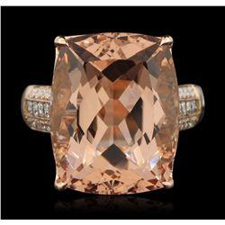 14KT Rose Gold 20.94ct Morganite and Diamond Ring CRJ98
