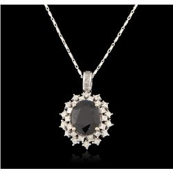 14KT White Gold 5.83ct Sapphire and Diamond Pendant With Chain RM1535