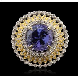 14KT White Gold 7.27ct Tanzanite and Diamond Ring RM1854