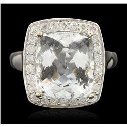 14KT White Gold 6.54ct Aquamarine and Diamond Ring A6518