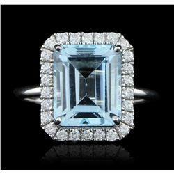 14KT White Gold 5.87ct Blue Topaz and Diamond Ring A5621