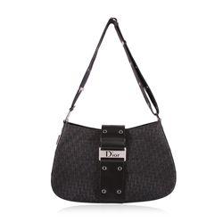 Christian DIOR Black Leather Monogram Canvas Grommet Handbag GB3091