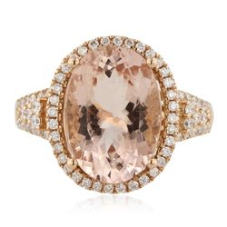 14KT Rose Gold 5.60ct Morganite and Diamond Ring CRJ62