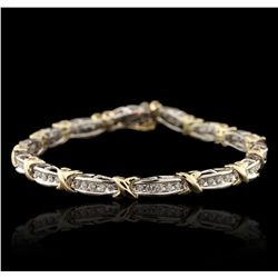 10KT Two-Tone Gold 2.10ctw Diamond Bracelet GB4507